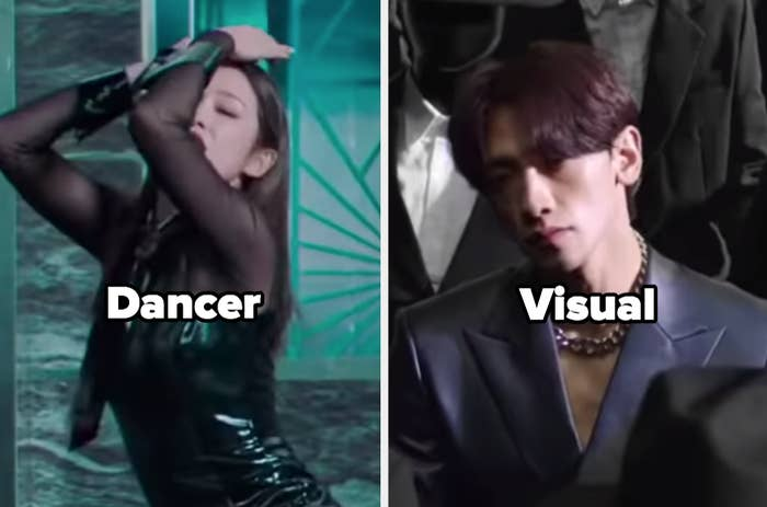"""Woman from dancing with the word """"Dancer"""" and guy siting with word """"Visual"""""""