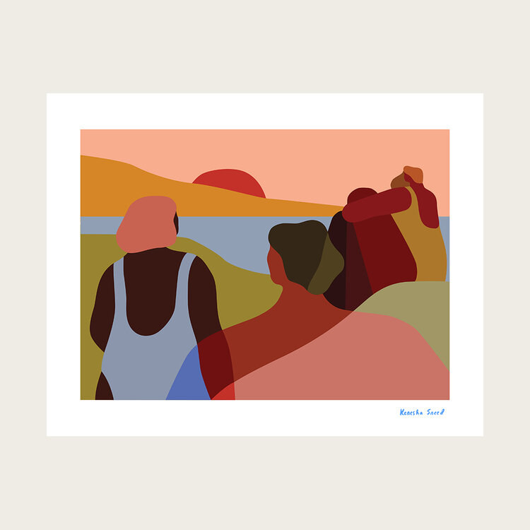 a painting of four people watching the sunrise over a hill with an abstract landscape