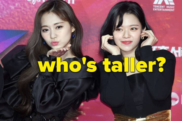 """Tzuyu and Jeongyeon of TWICE with the words """"Who's taller?"""""""