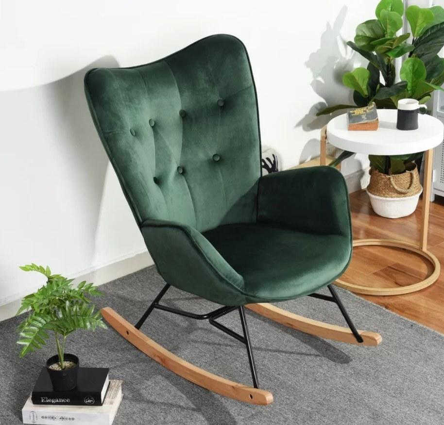 Green velvet butterfly rocking chair