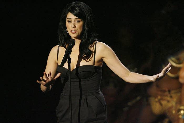 Sarah speaking on stage