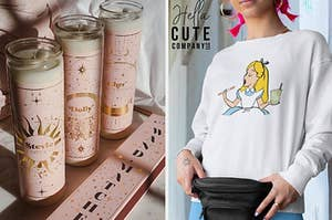 pink pillar candles, person wearing a shirt with alice from alice in wonderland