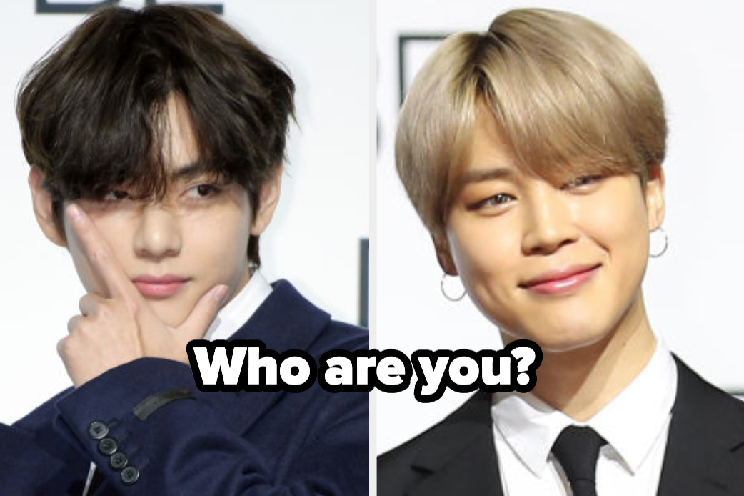 """V and Jimin from BTS with the words """"Who are you?"""""""