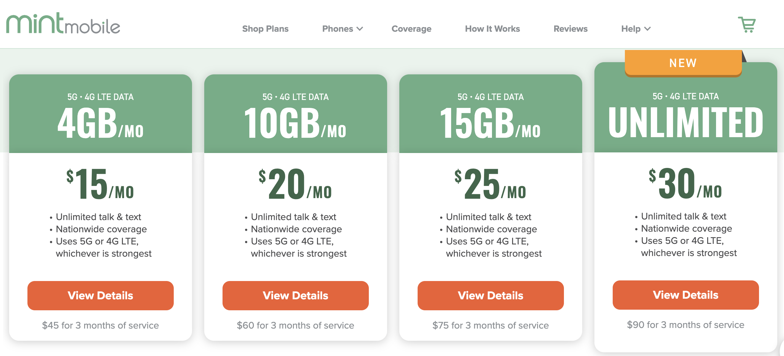 Screenshot of Mint Mobile's cell phone plans at $15 to $30 per month