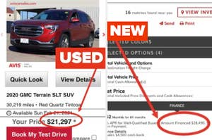 Two cars and car payment information