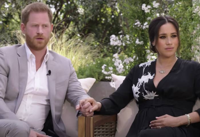 Meghan and Harry in a screenshot from the interview