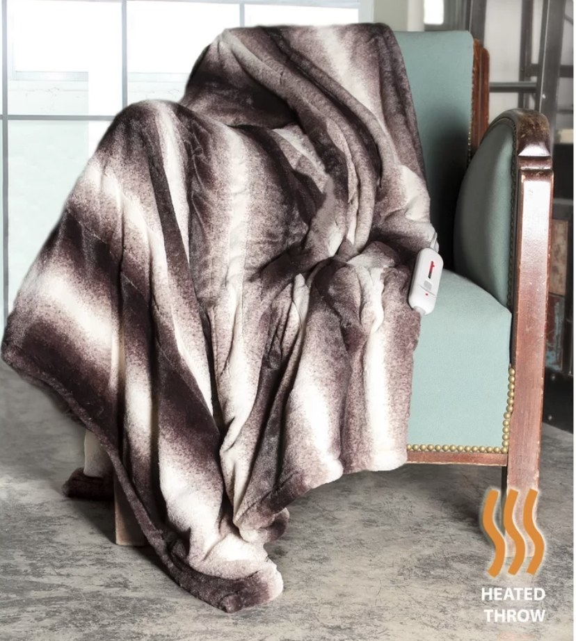 Brown and white heated throw