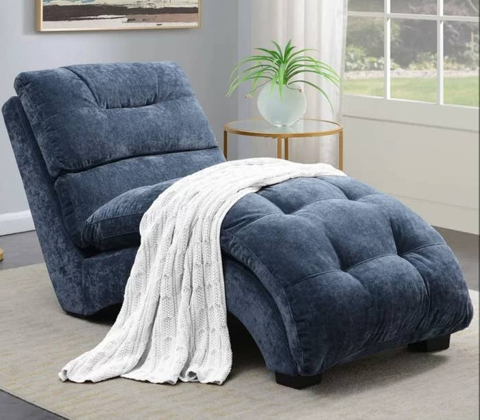 Navy, square tufted chaise lounge
