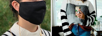 On the left, model wears gold face mask chain with black face mask. On the right, reviewer wears striped sweater with jeans