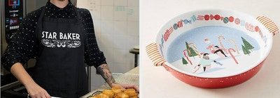 to the left: a model in a star baker apron, to the right: a pie dish with a wintry scene in it