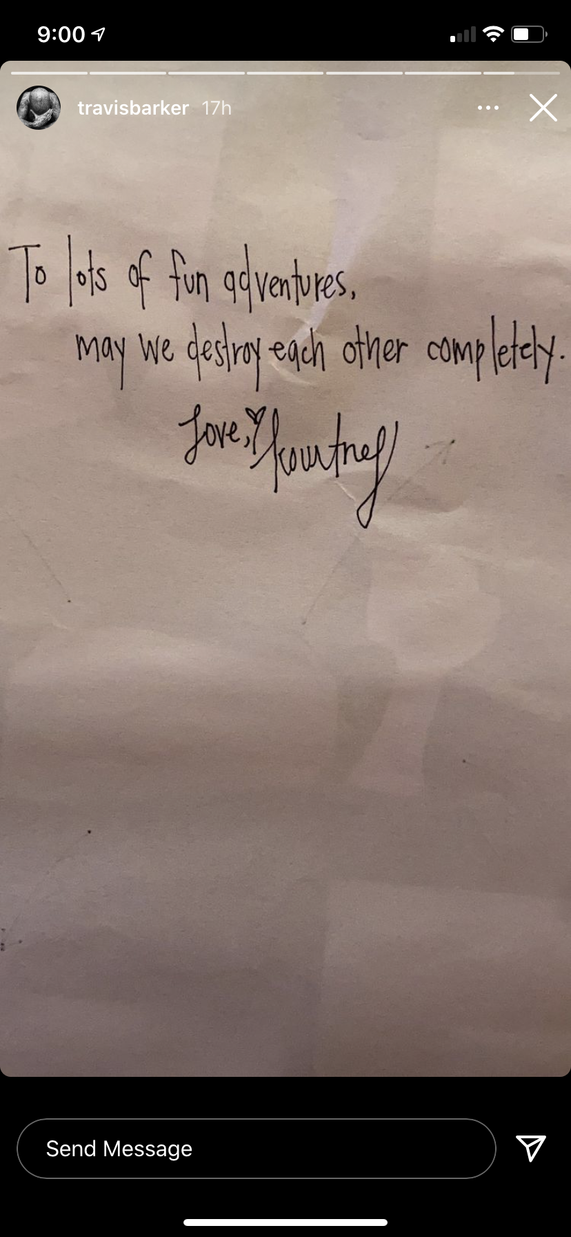 """The notes says, """"To lots of adventures. May we destroy each other completely. Love (a heart) Kourtney"""""""