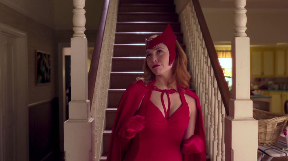 Wanda wearing an all-red Halloween costume