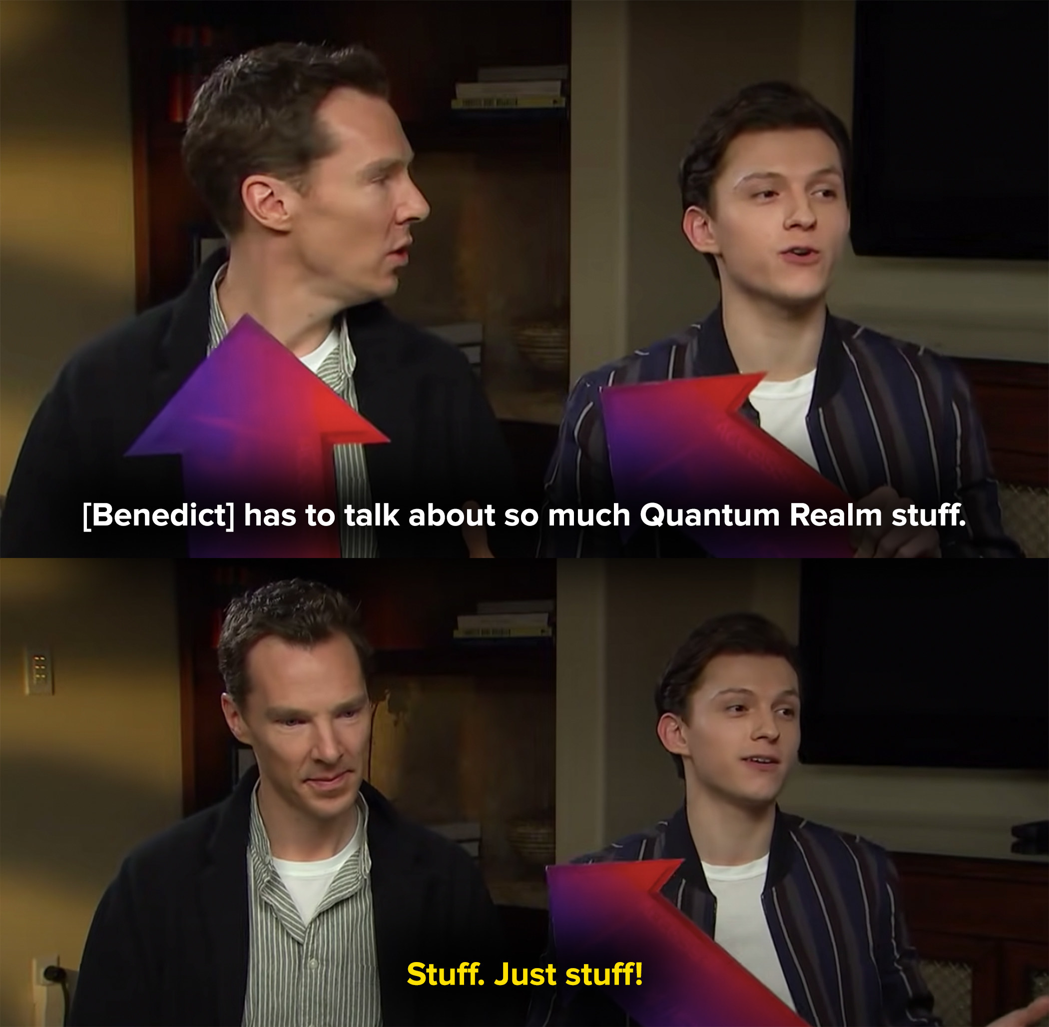 Tom says Ben has to talk about so much Quantum Realm stuff