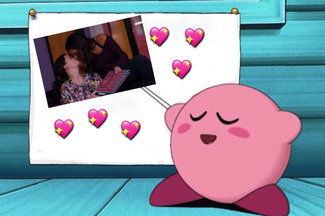 meme of Kirby pointing to picture of Sophie and Max