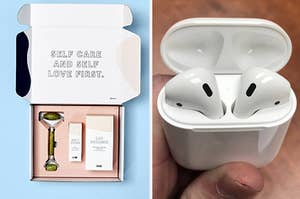 a blume glowing skin bundle and airpods