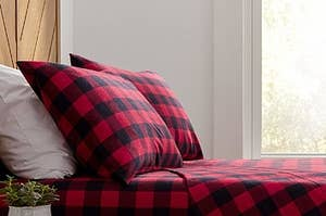 the sheets in red and black flannel