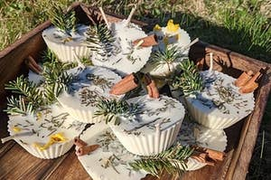 the wax-based fire starters with pine needles, twigs, and flowers