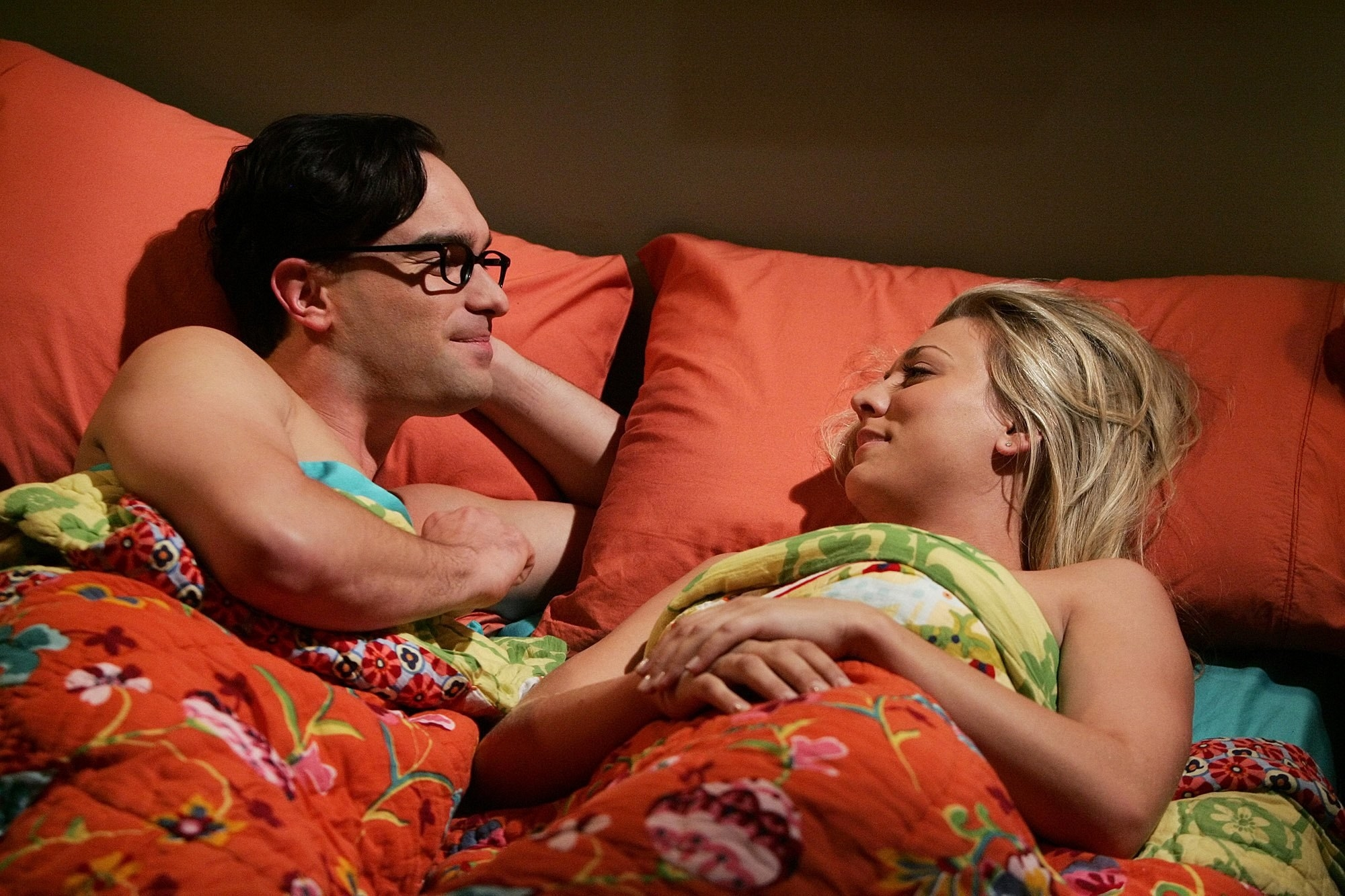 Leonard (Galecki) and Penny (Cuoco) in bed together on The Big Bang Theory