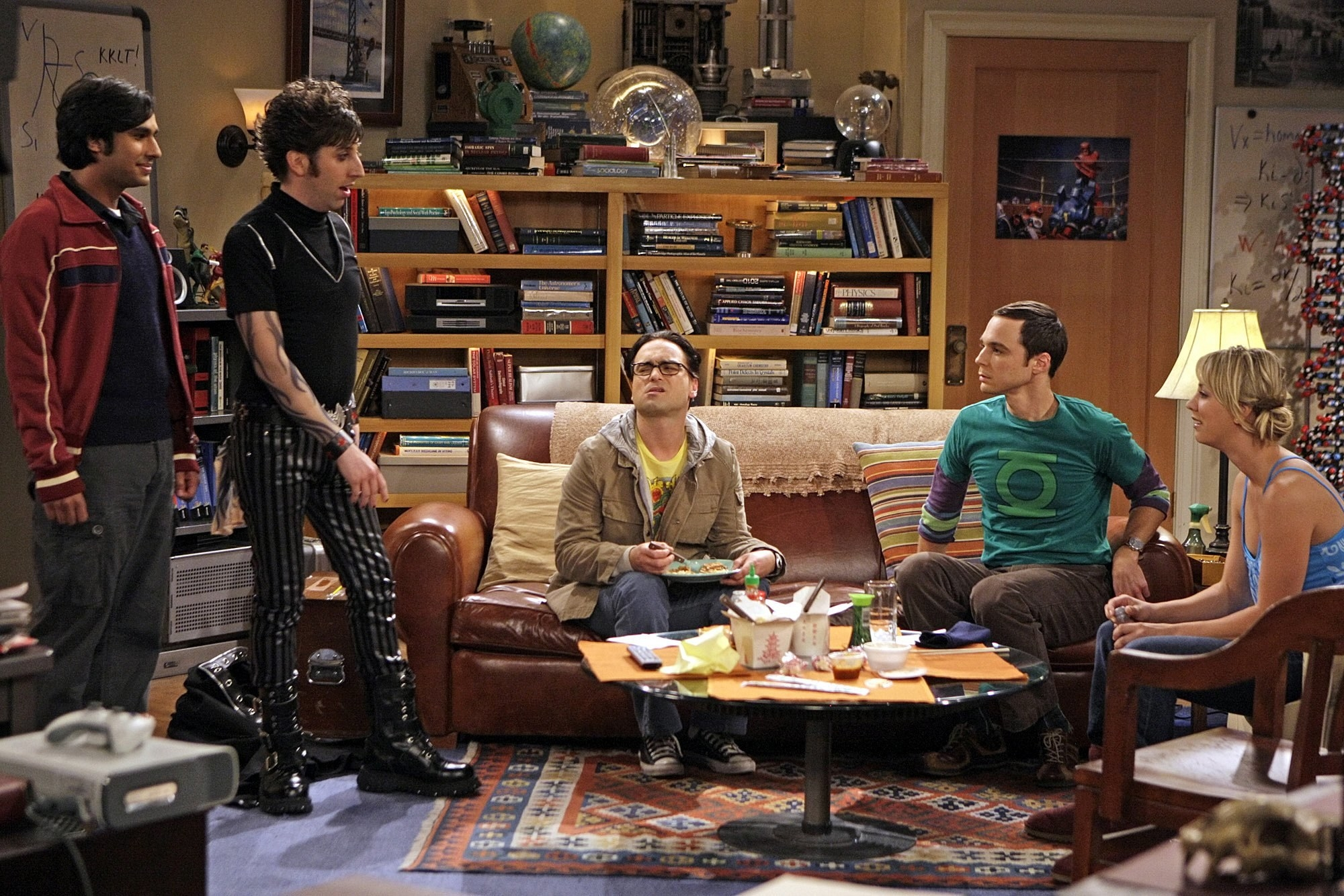 The main cast in the living room on The Big Bang Theory