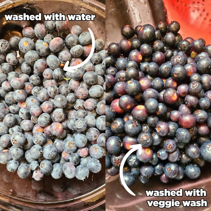 before: dusty looking berries washed with water, after: shiny berries with no white residue washed with veggie wash