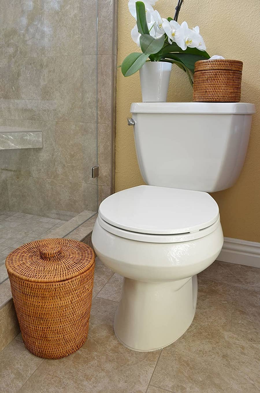 27 Garbage Cans That People Actually, Bathroom Garbage Can With Lid