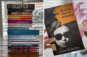 A stack of book and Joan Didion's Slouching Toward Bethlehem