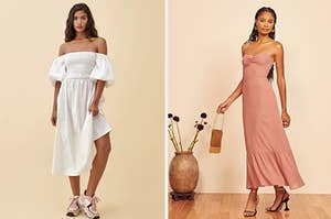 Two models for Reformation in beautiful dresses
