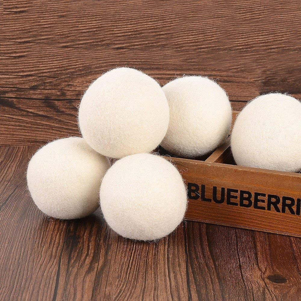 The wool balls against wood
