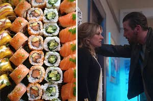 """A tray of various types of sushi and Mädchen Amick as Alice Cooper and Skeet Ulrich as F. P. Jones  in the show """"Riverdale."""""""