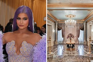 Kylie Jenner arrives for the 2019 Met Gala and a grand marble entry way.