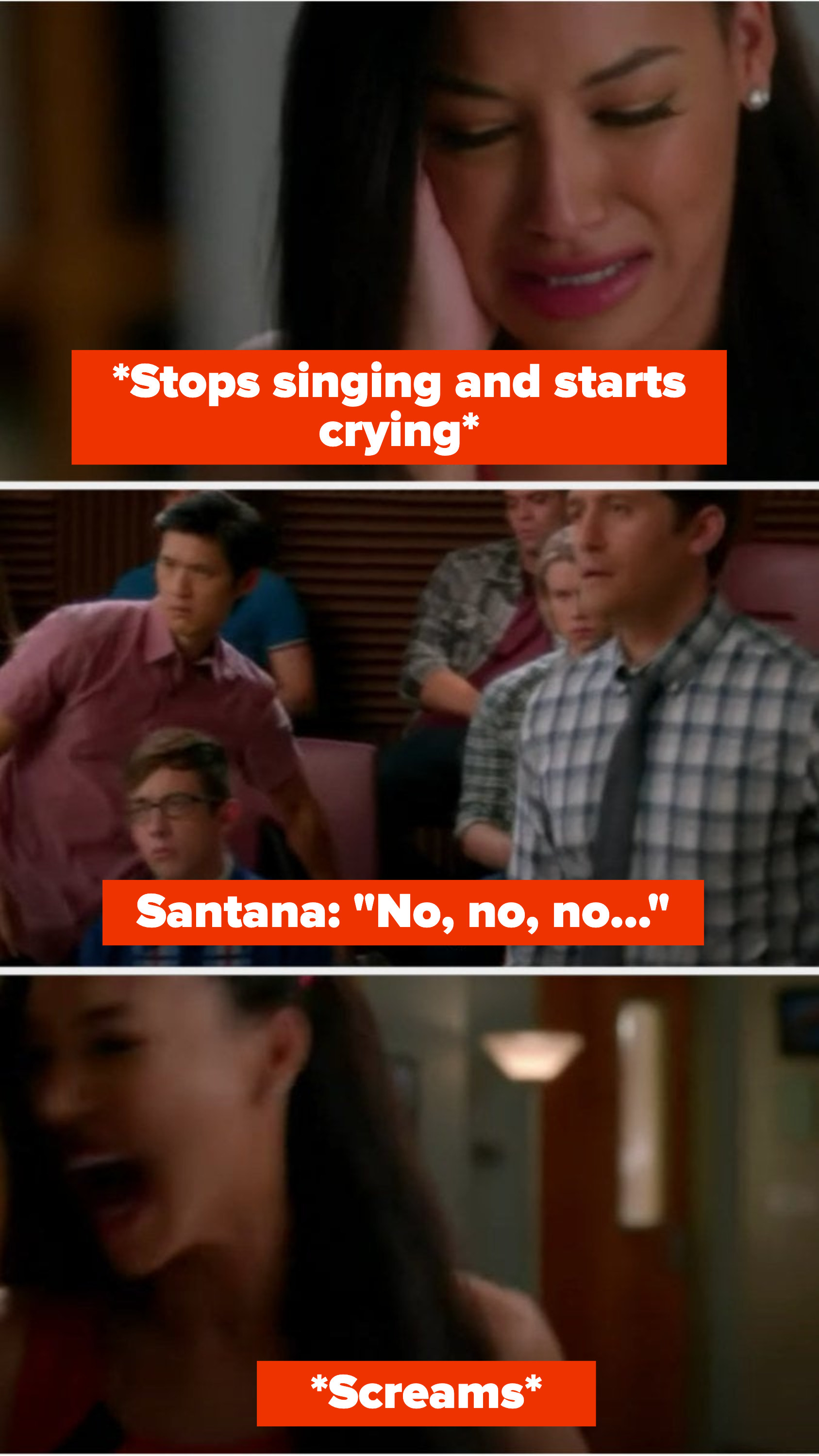 """Santana starts to cry while singing, then says """"No no no"""" as Mike and Mr. Shue stand to comfort her, but then she screams and runs away"""