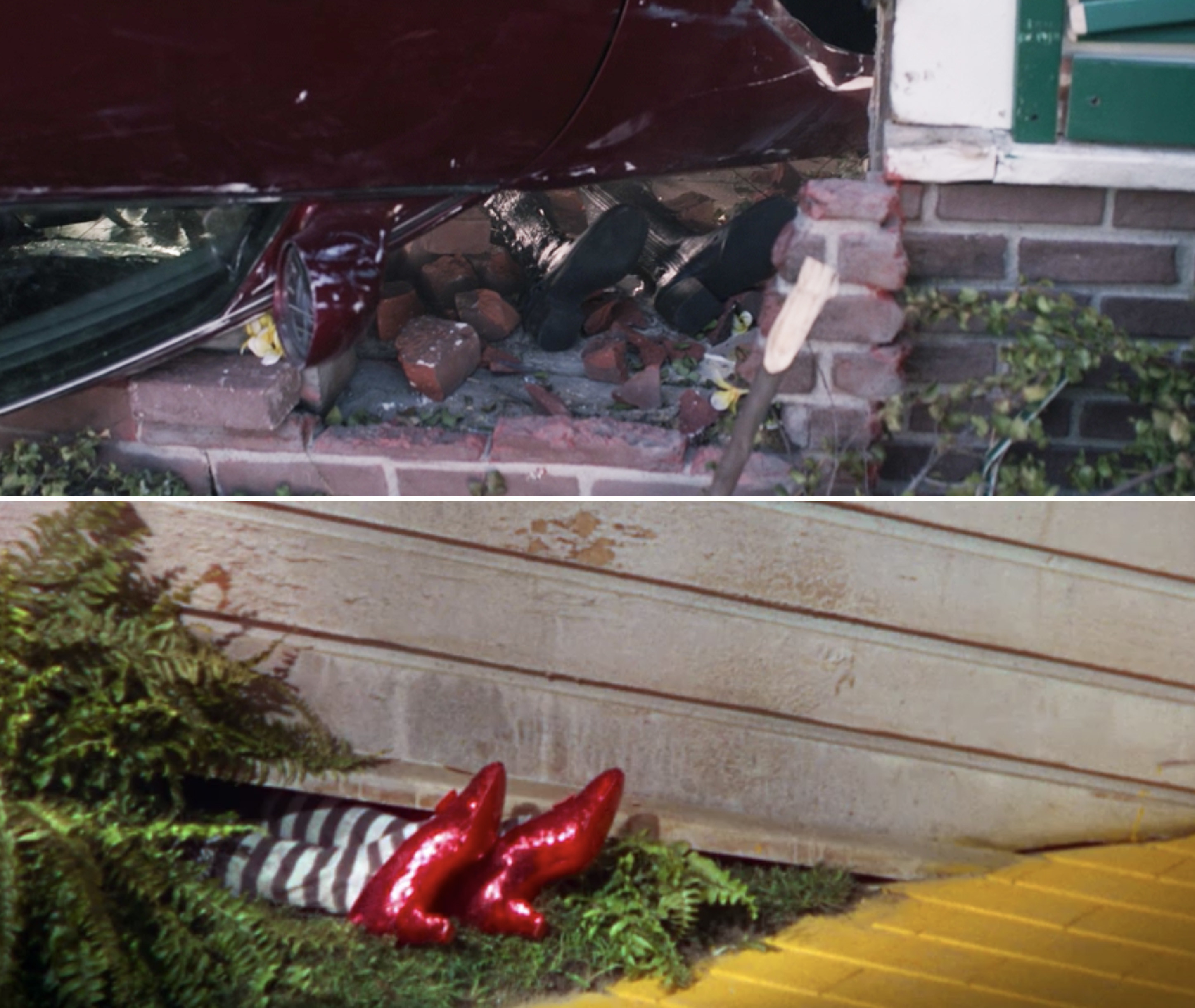 Agatha's boots sticking out from under a car vs. the ruby slippers under the house in the Wizard of Oz