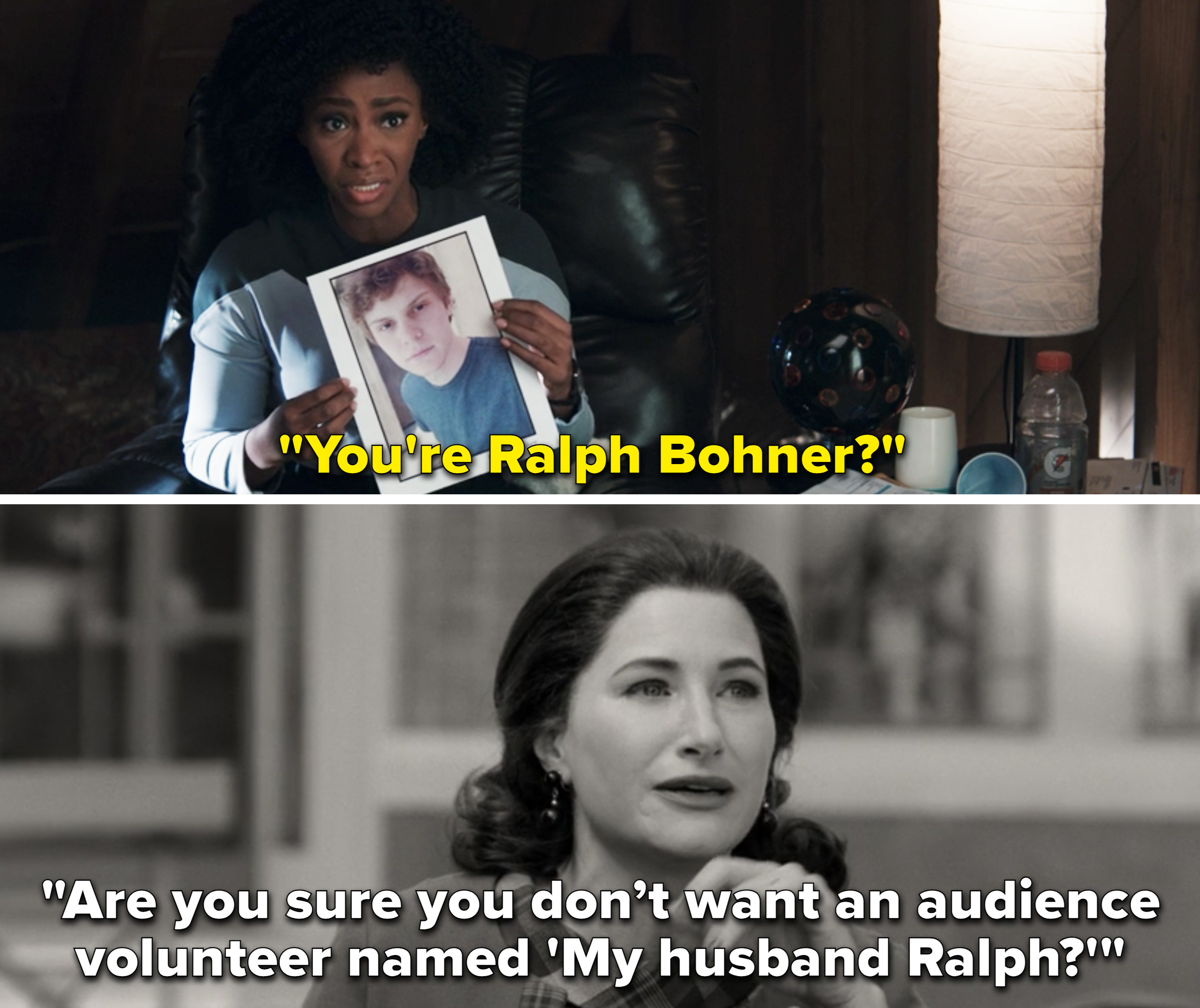 "Monica saying, ""You're Ralph Bohner?"""