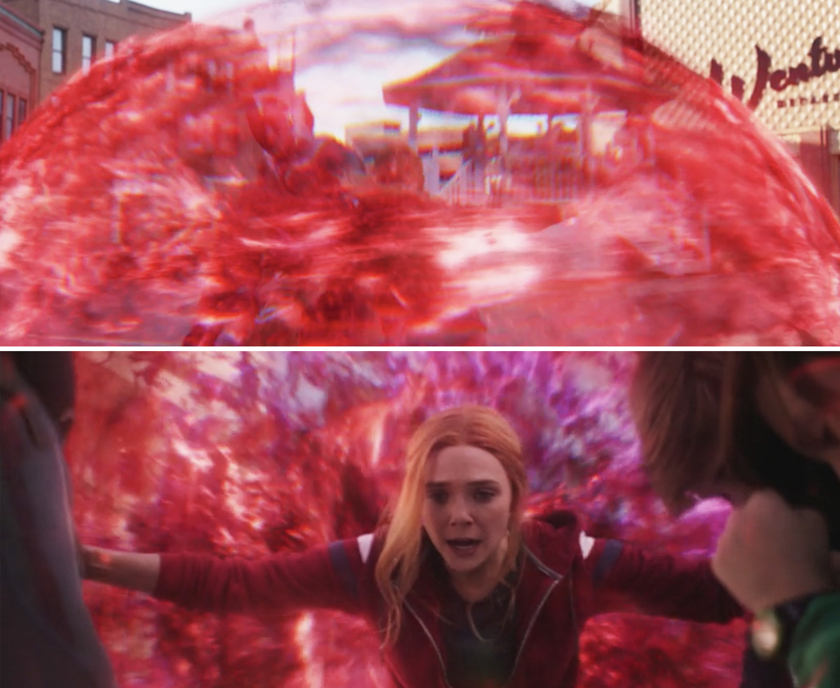 Wanda creating a red forcefield around Billy and Tommy