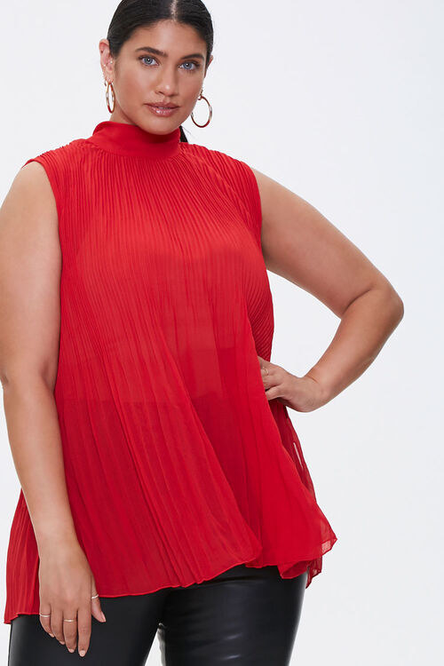 Model wearing the top in the color Red