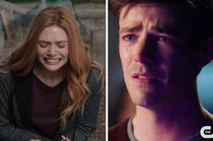 Wanda Maximoff and Barry Allen crying