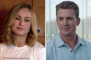 "Chris Evans as Steve Rogers and Brie Larson as Carol Danvers in the movie ""Avengers: Endgame."""