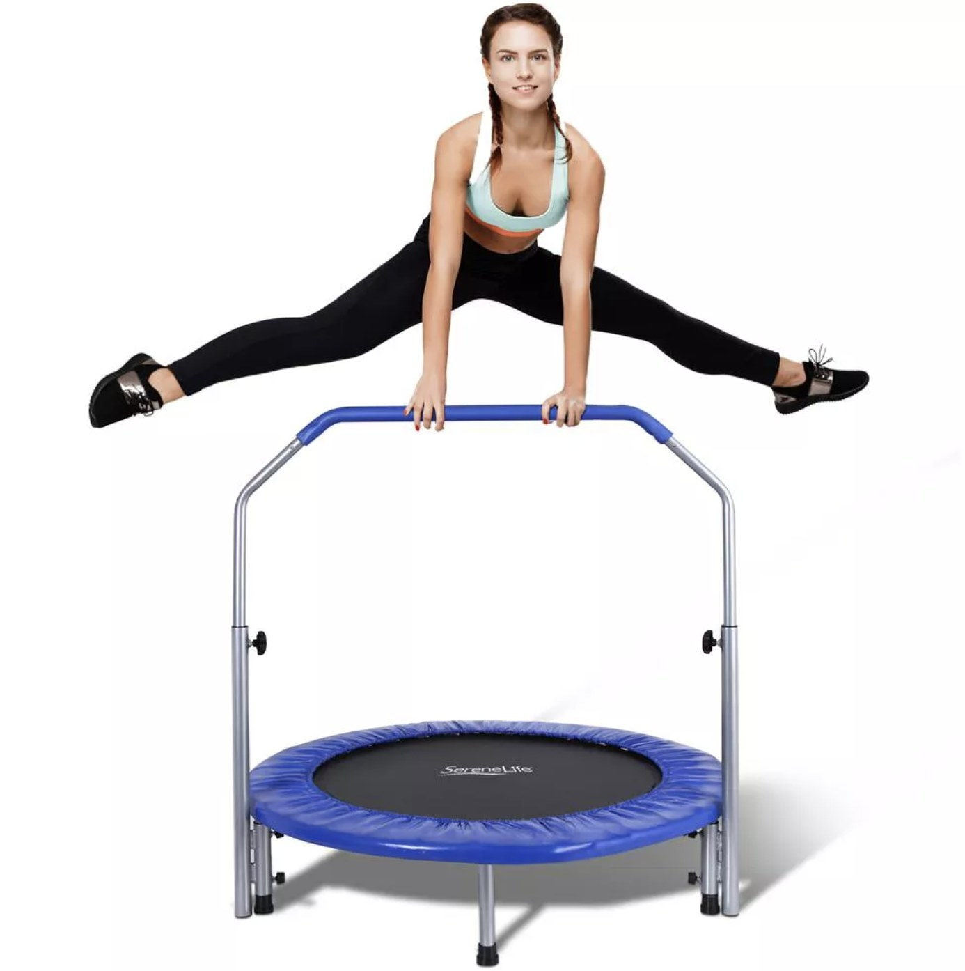 A person jumping on a mini trampoline