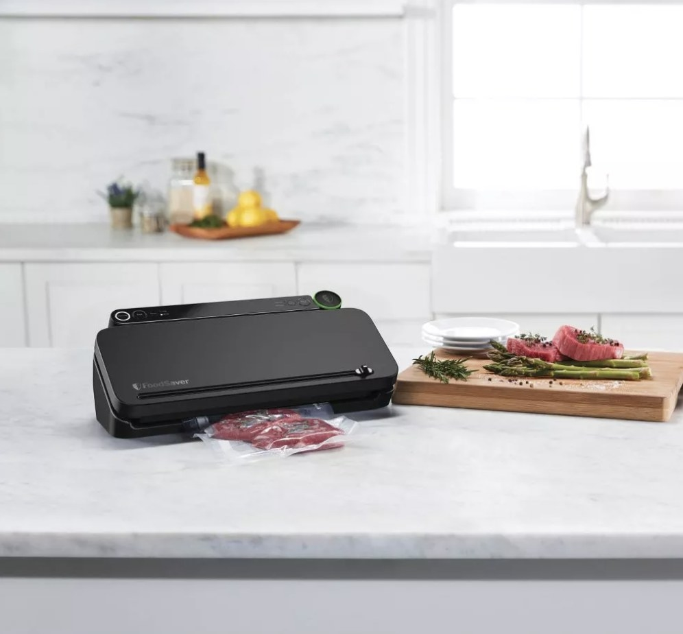A black FoodSaver vacuum sealer