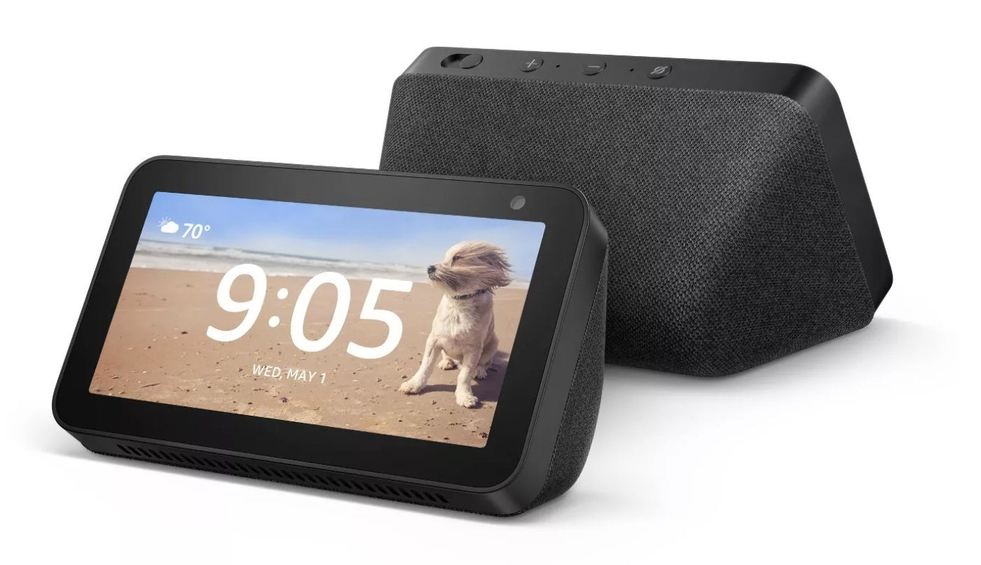 A black Amazon Echo Show 5