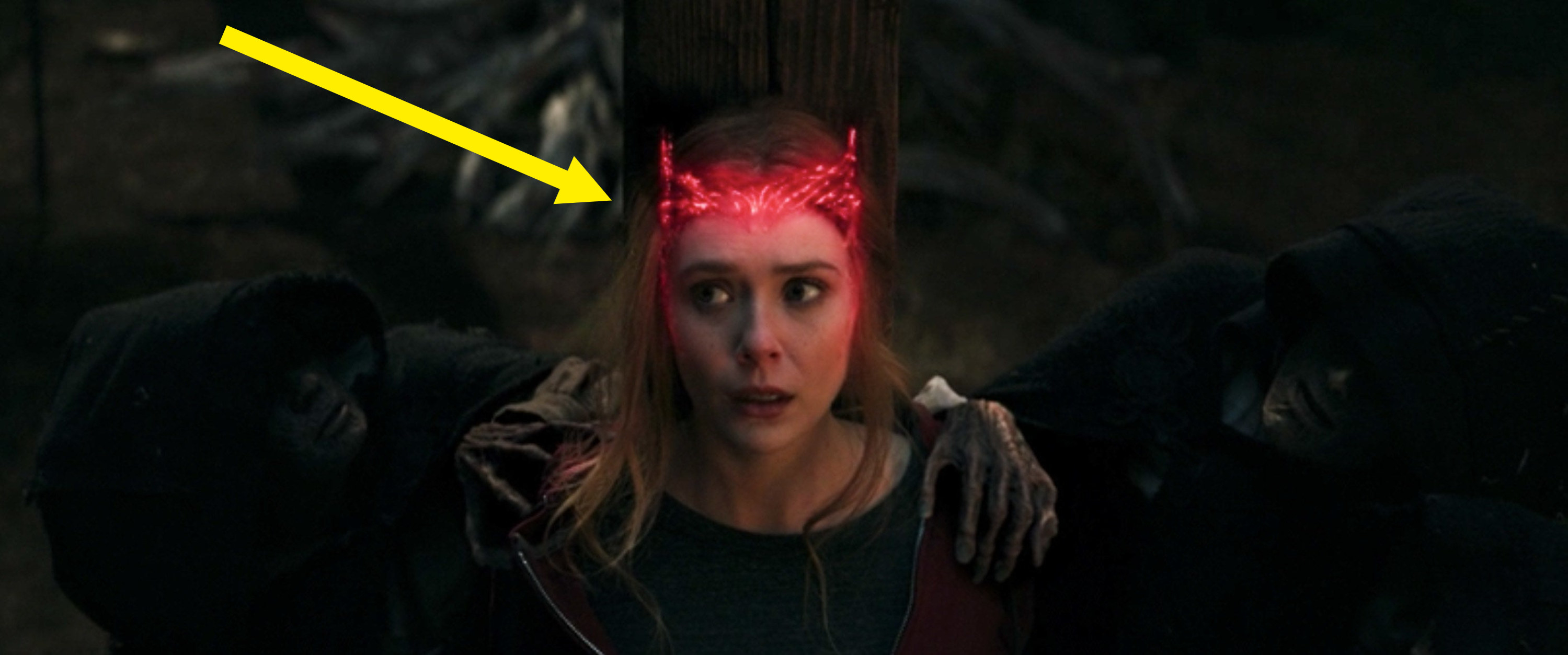A red crown around Wanda's head