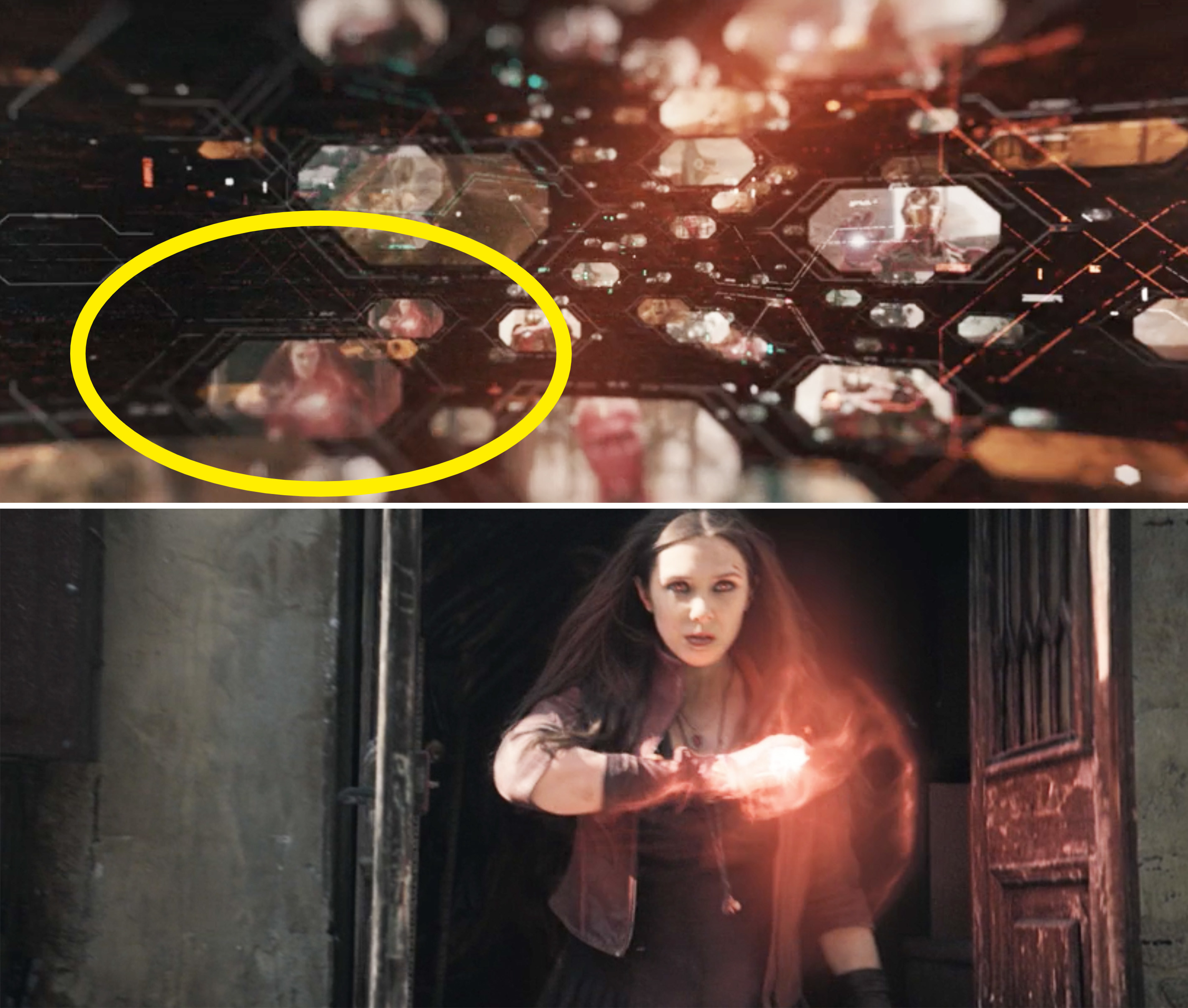 A circle around a memory of Wanda using her powers