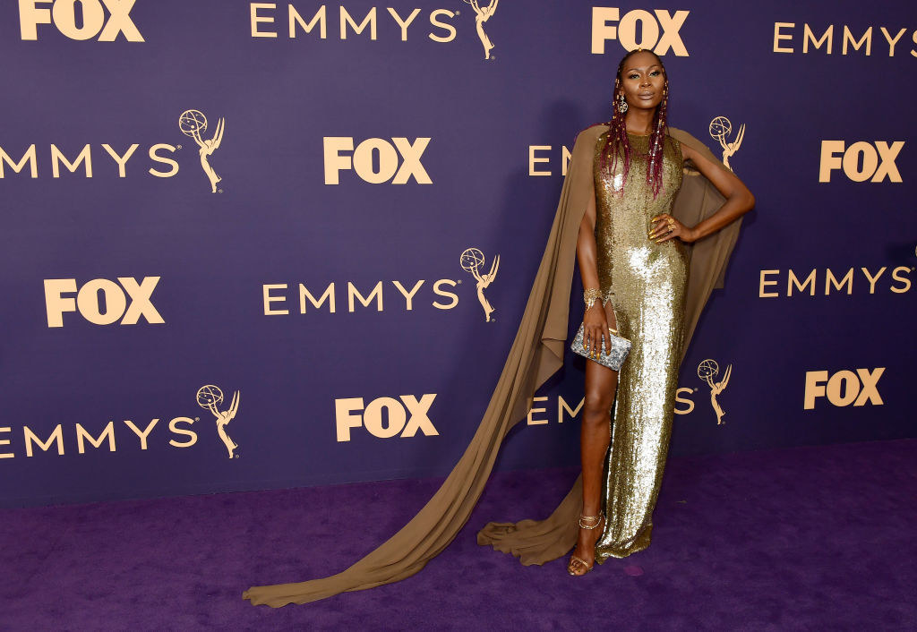 Dominique Jackson on the purple carpet at the 71st Emmy Awards