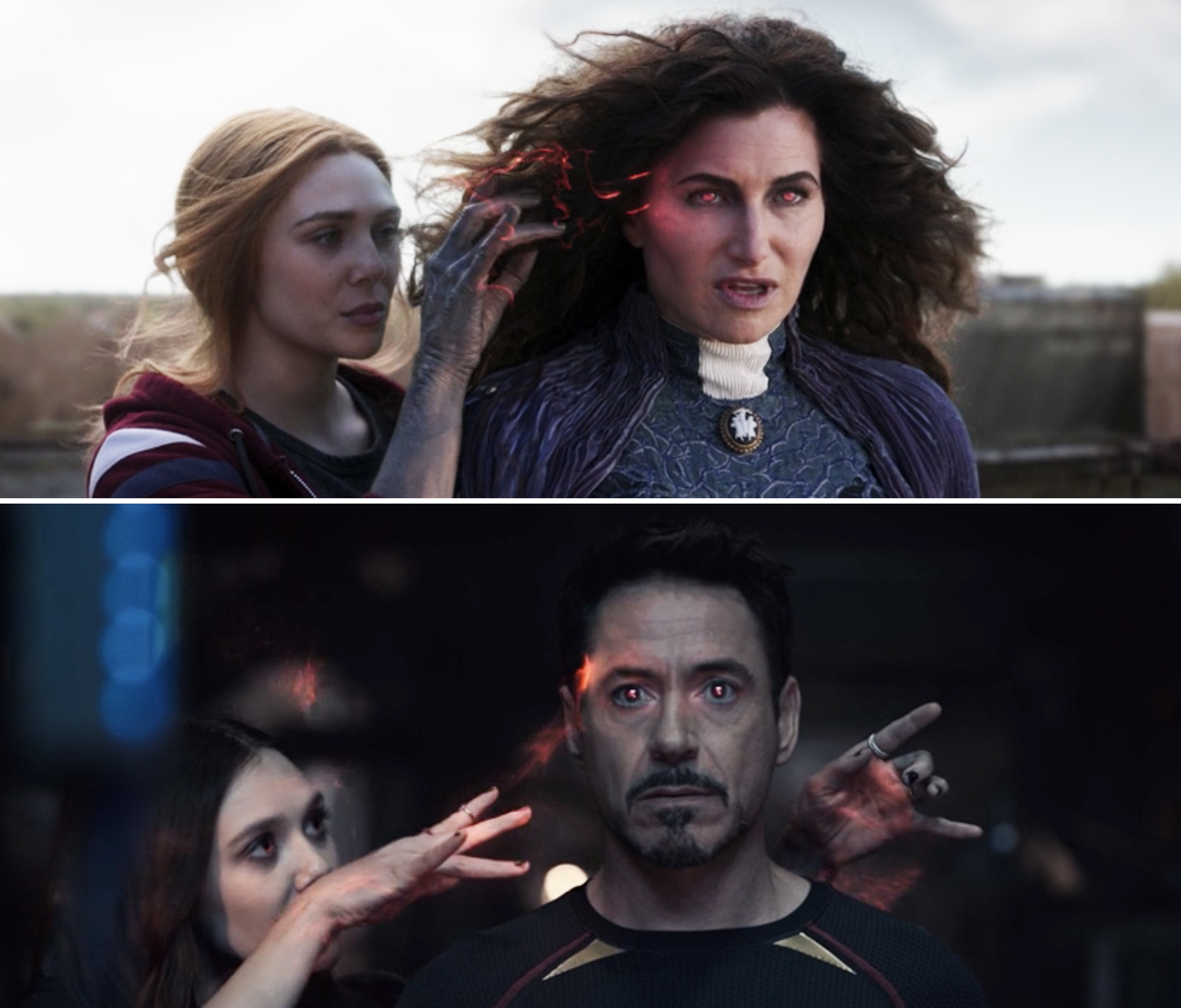 Wanda using her magic on Agatha vs. using her magic on Tony Stark