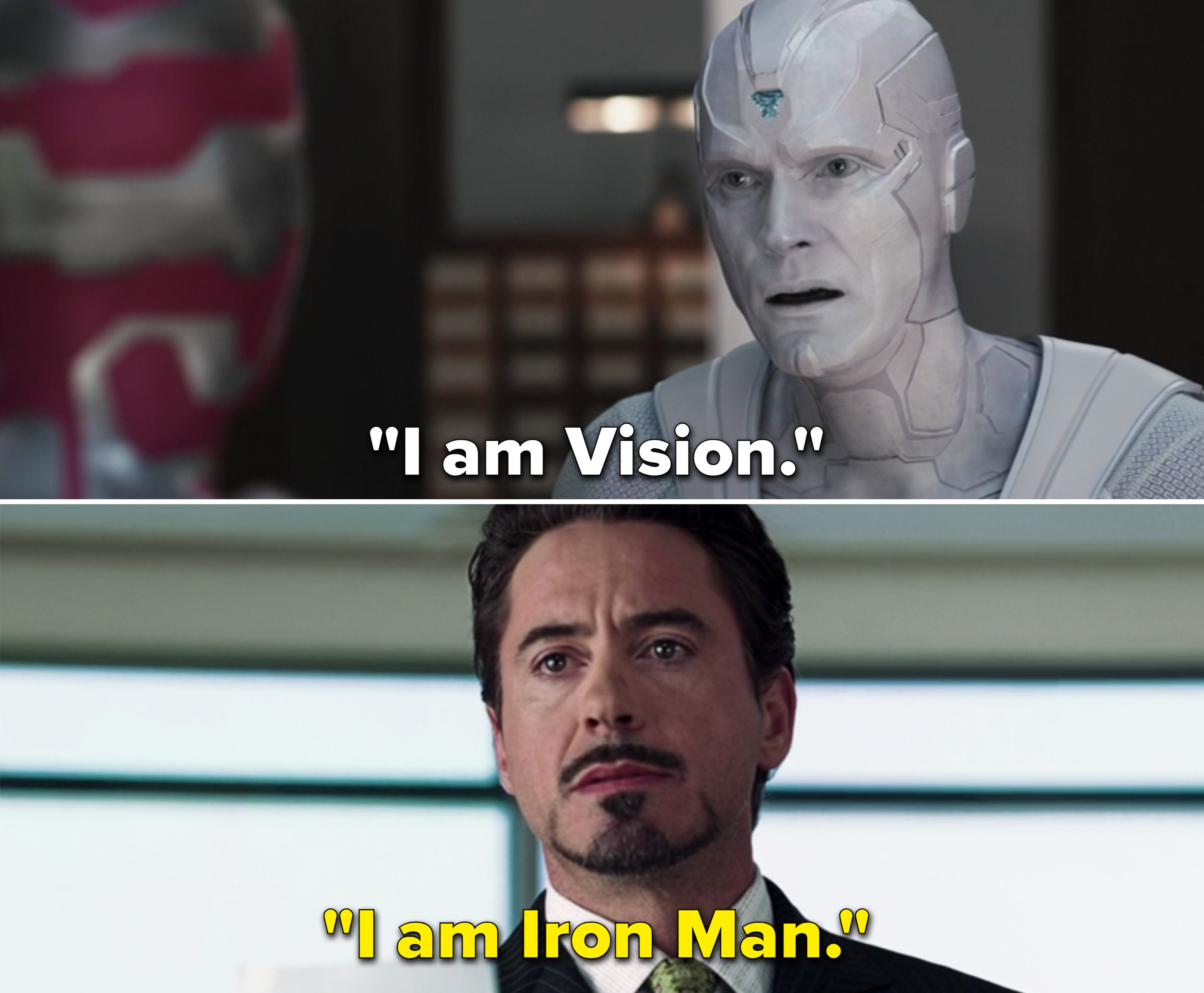"White Vision saying, ""I am Vision"""