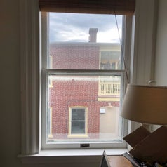 Before photo of a reviewer's dirty, cloudy window