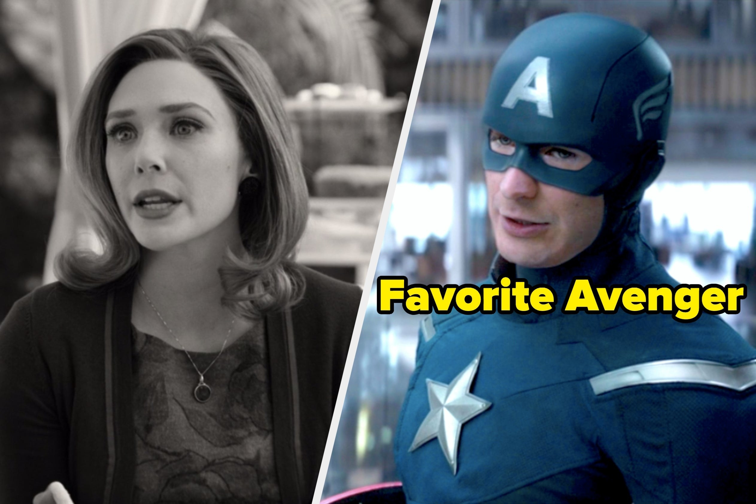"Wanda in WandaVision next to Captain America labeled ""Favorite Avenger"""