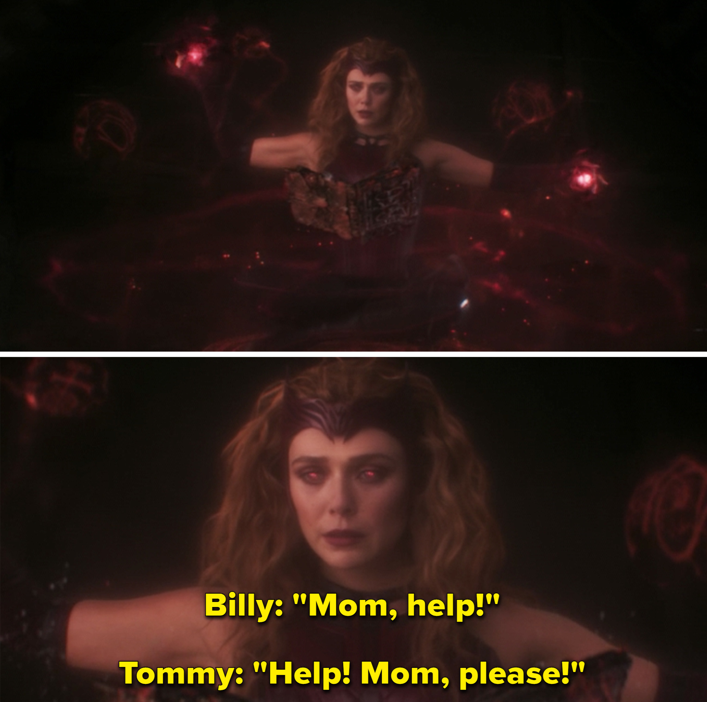 """Billy and Tommy saying, """"Mom, help! Help! Mom, please!"""""""