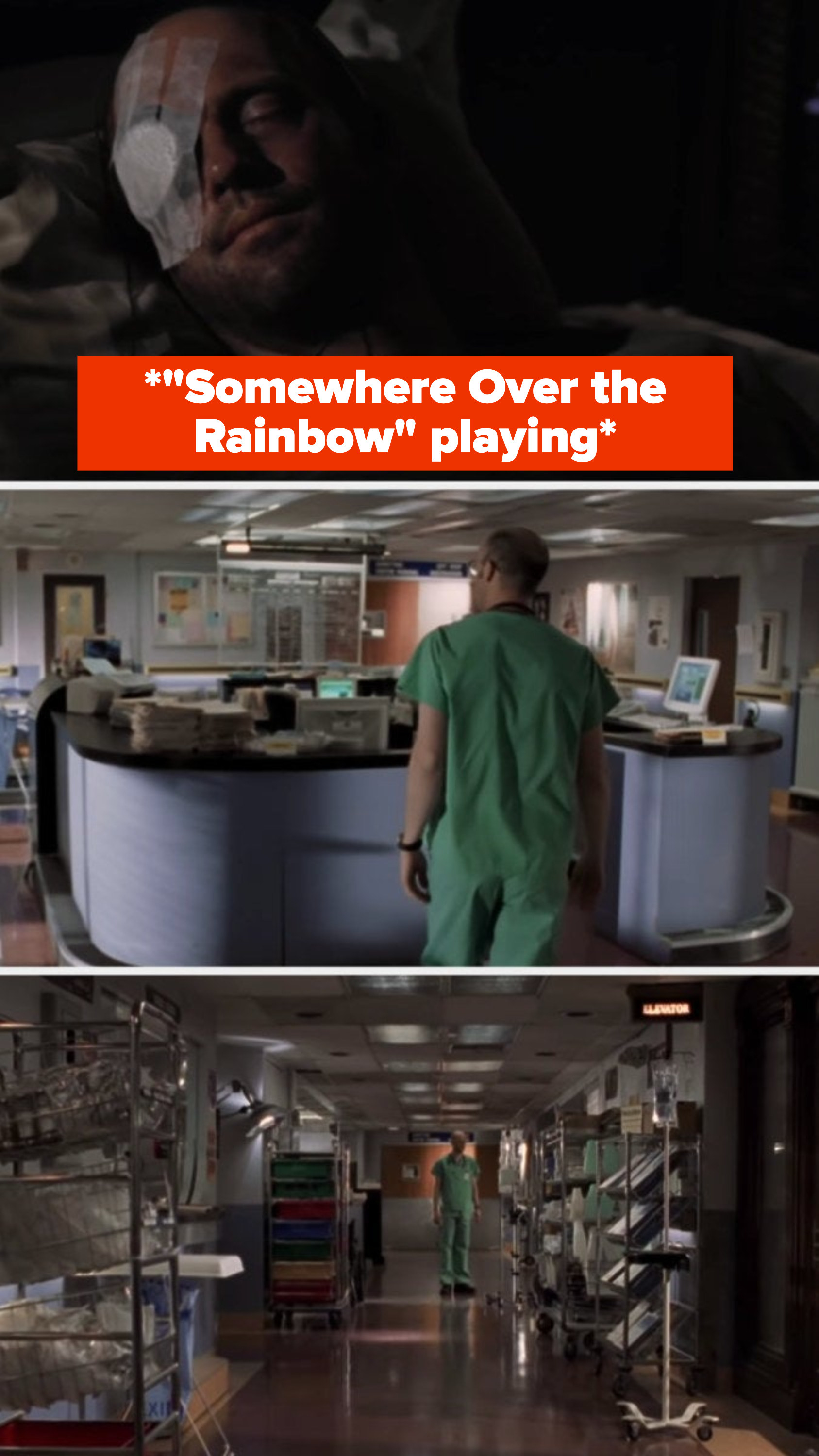 """""""Somewhere Over the Rainbow"""" plays and we see Mark walking around the empty hospital"""