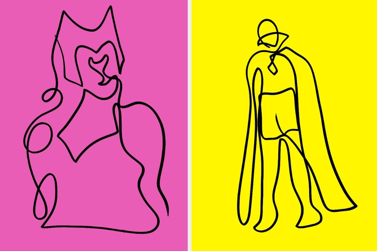 Line drawings of Wanda and Vision
